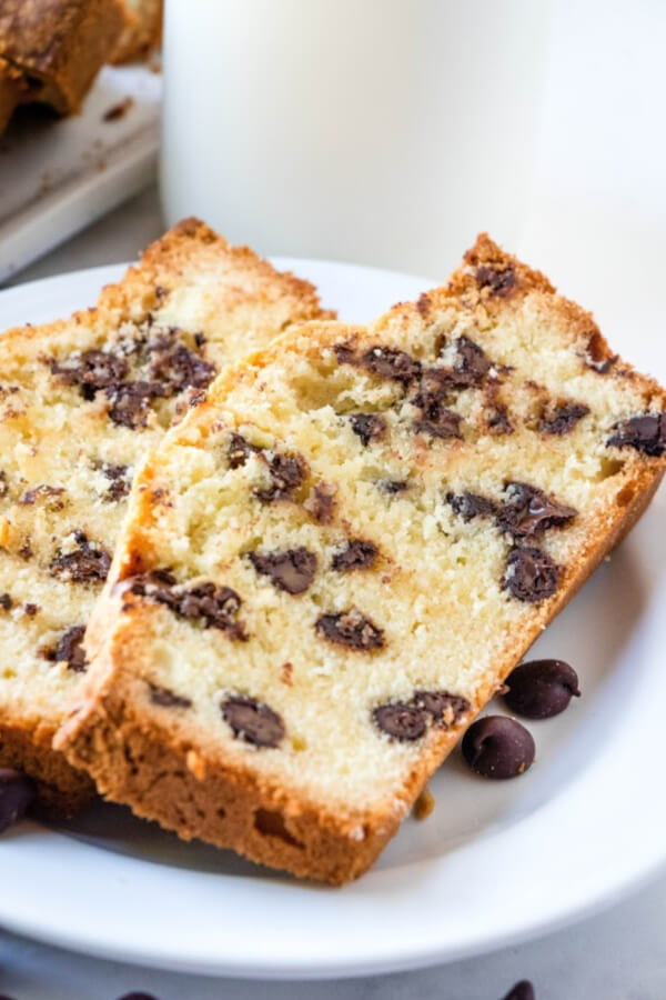 slices of chocolate chip pound cake on white plate