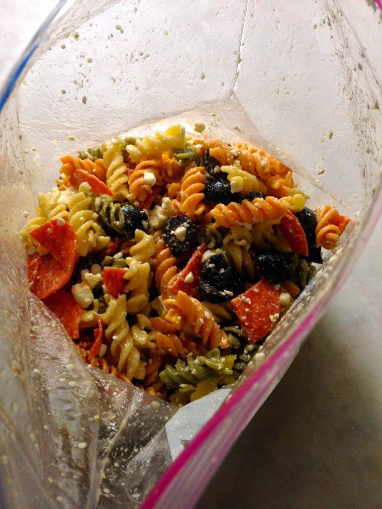 Pepperoni & Feta Pasta Salad in a reclosable bag.