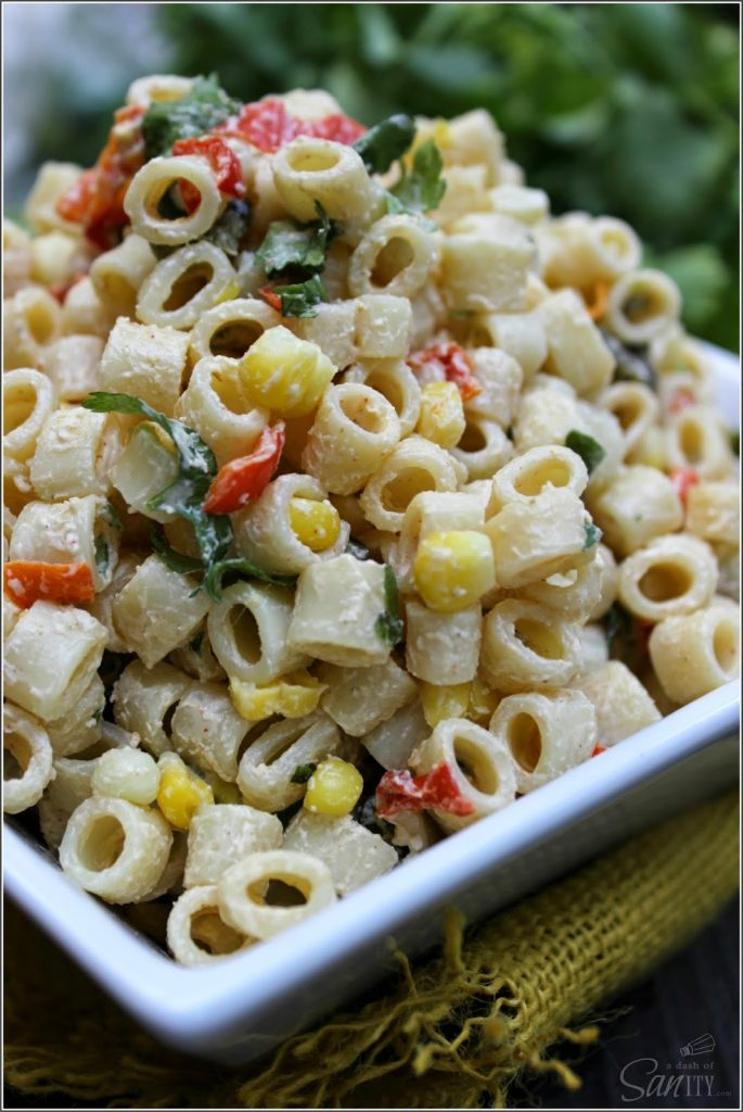 Roasted Pepper Southwestern Pasta Salad close up in a bowl.