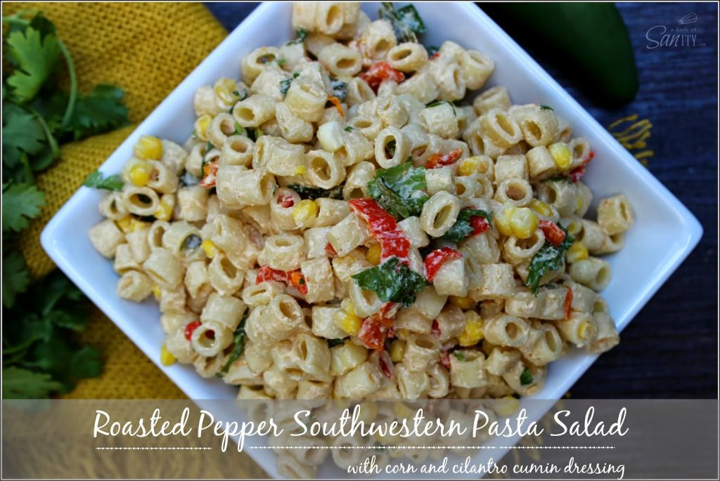 Roasted Pepper Southwestern Pasta Salad in a white bowl.