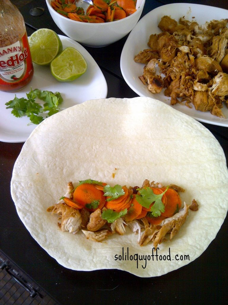 Honey Lime Teriyaki Chicken W/ Hot Sweet  & Sour Cilantro Carrots in flour tortilla.