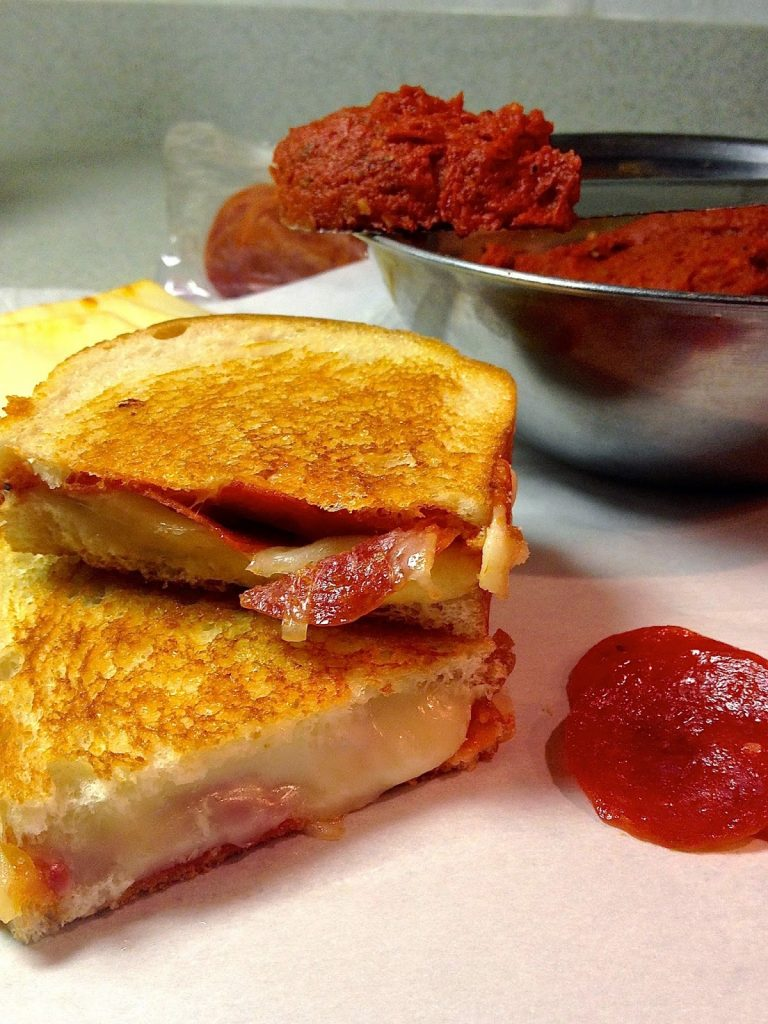 Pepperoni Pizza Grilled Cheese with Pizza Butter.
