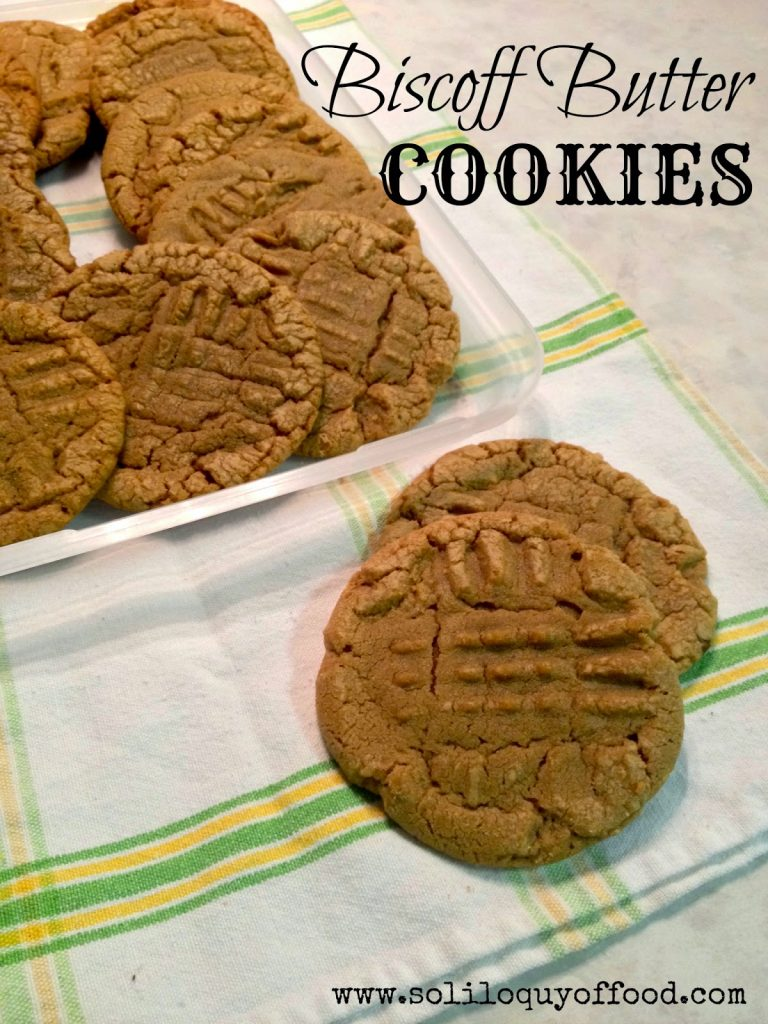 Biscoff Butter Cookies stacked on plate.