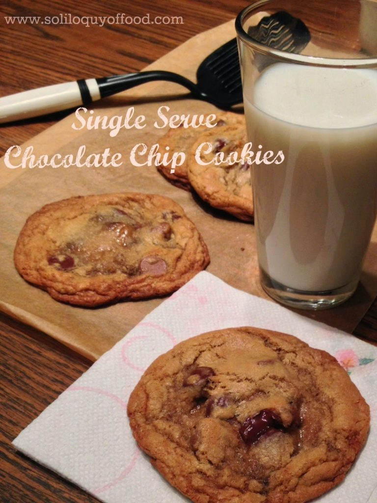 Single Serve Chocolate Chip Cookies on a plate with a glass of milk.