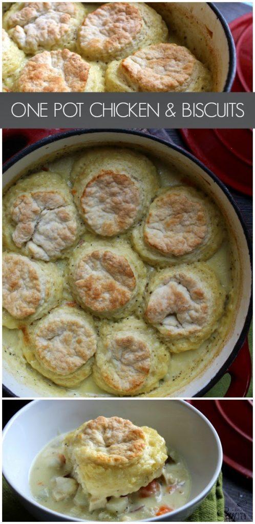 One Pot Chicken & Biscuits.