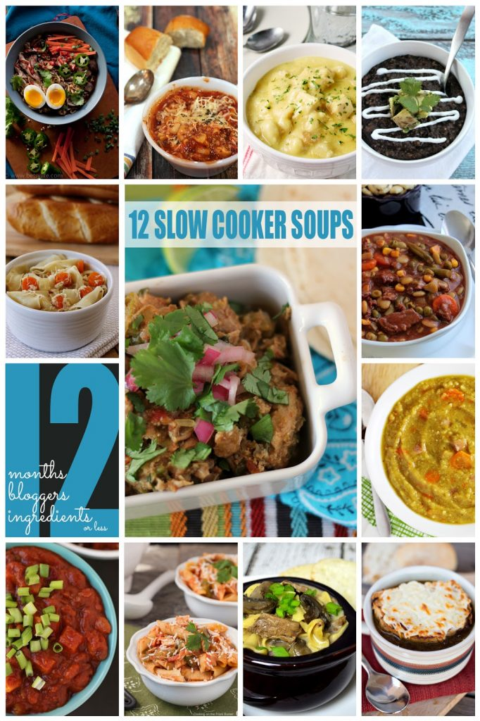 12 slow cooker soups collage.