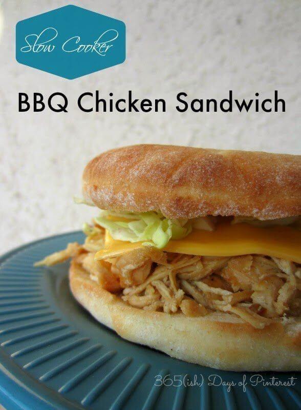 Slow Cooker BBQ Chicken Sandwich on a blue plate.