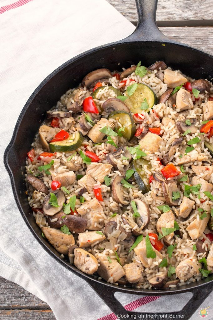 Italian Style Skillet Dinner in a skillet ready to serve.