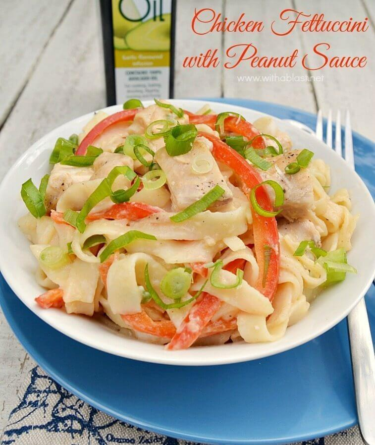 Chicken Fettuccini with Peanut Sauce in a white bowl.