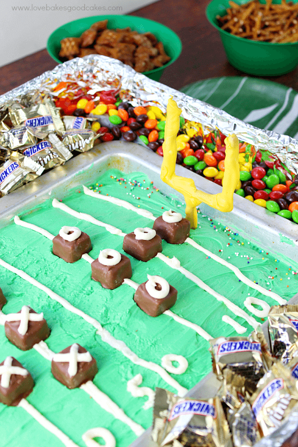 Game Day Cake in a pan with candies around it.