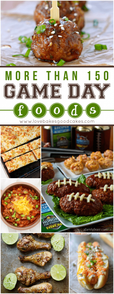 More than 150 Game Day Foods collage.