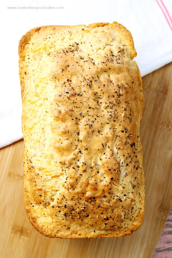 Garlic Cheddar Quick Bread loaf.