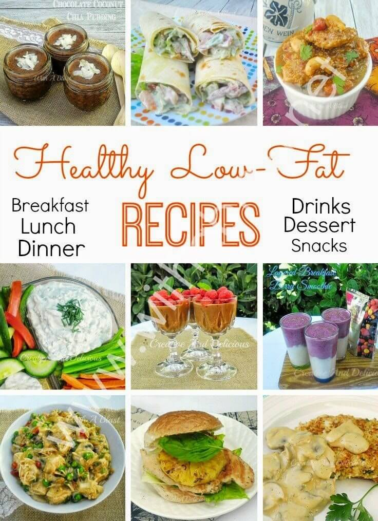 Healthy Low-Fat Recipes collage.