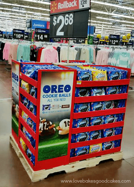 OREO Cookie Ball Game Day Cupcakes. OREO cookie display in a grocery store isle.