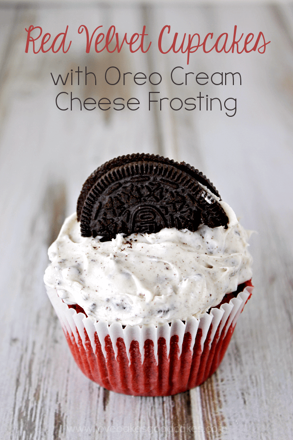 Red Velvet Cupcakes with Oreo Cream Cheese Frosting with an OREO cookie on top.