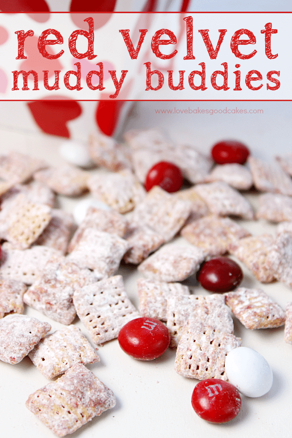 Red Velvet Muddy Buddies laying on a table.