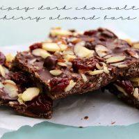 Crispy Dark Chocolate Cherry & Almond Bars