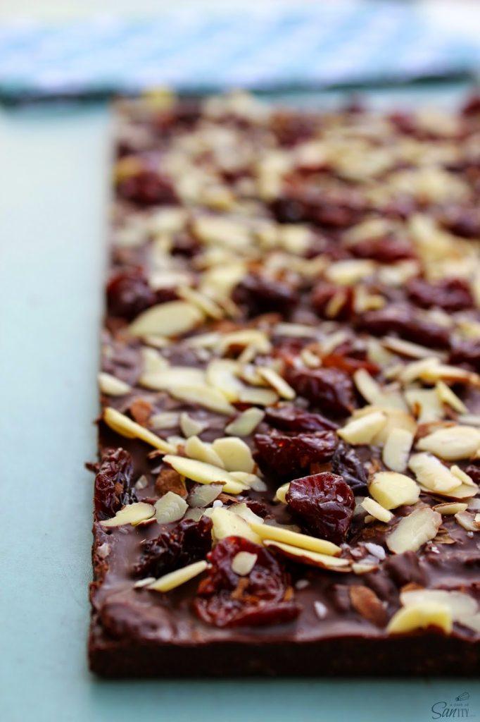 Crispy Dark Chocolate Cherry & Almond Bars close up.