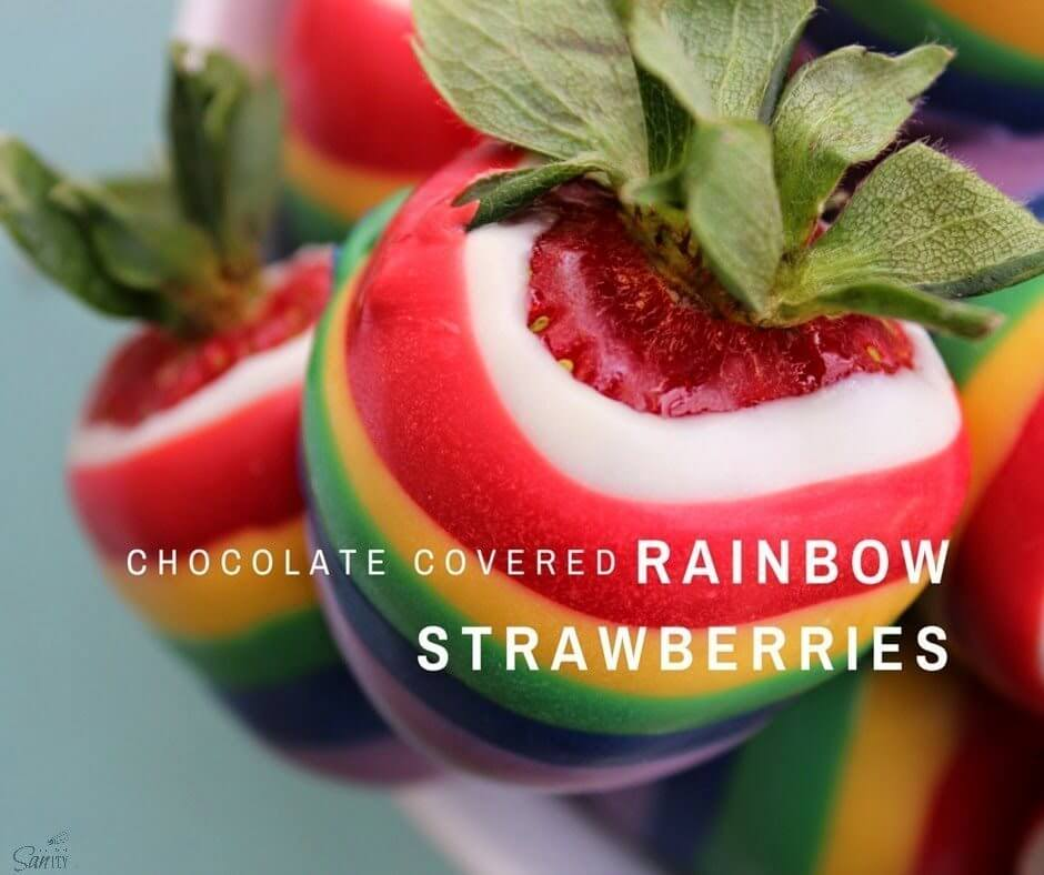 Chocolate Covered Rainbow Strawberries.
