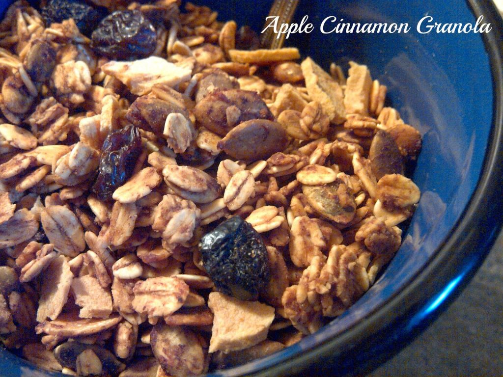 Apple cinnamon granola in a blue plate.
