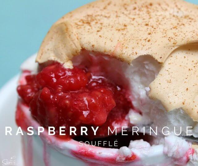 Raspberry Meringue Soufflé close up.