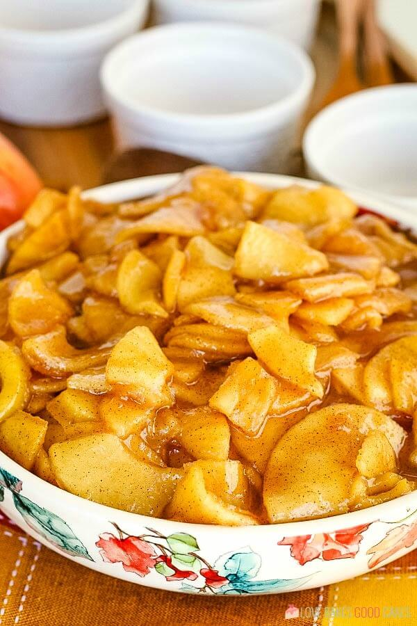 Fried Apples in decorative bowl.