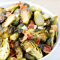 Roasted Brussels Sprouts with Bacon & Almonds