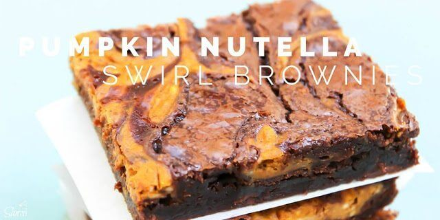 Pumpkin Nutella Swirl Brownies close up.