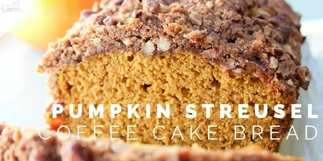 Pumpkin Streusel Coffee Cake Bread close up.
