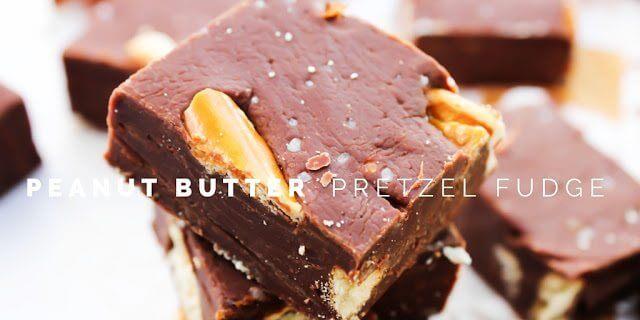 Peanut Butter Pretzel Fudge pieces close up.