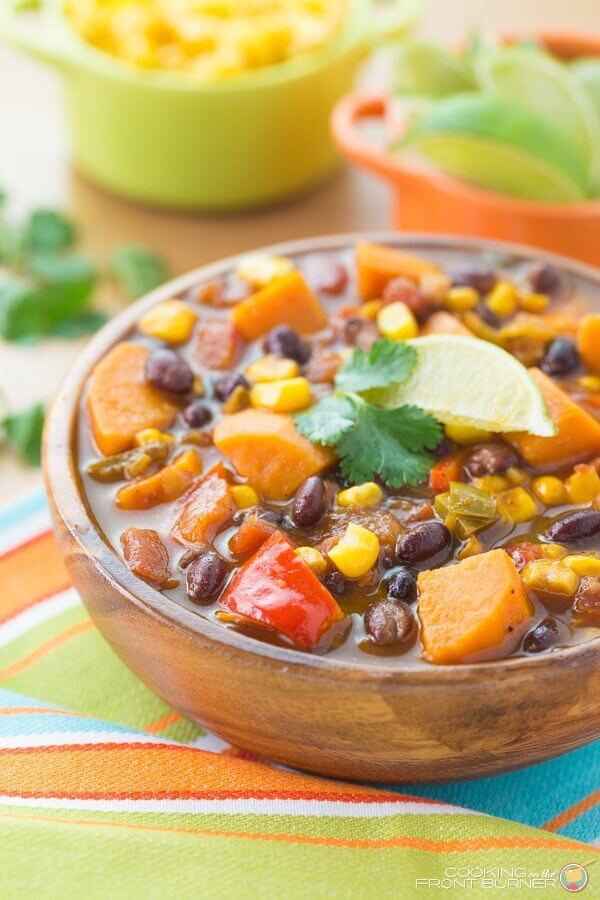 Sweet Potato and Black Bean Soup in a brown bowl.
