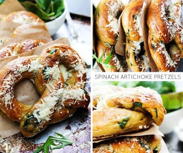 Spinach Artichoke Pretzels collage.