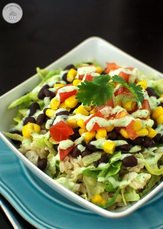 Burrito Bowls with Light Tomatillo Ranch Dressing in a bowl.