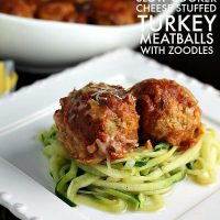low Cooker Cheese Stuffed Turkey Meatballs with Zoodles