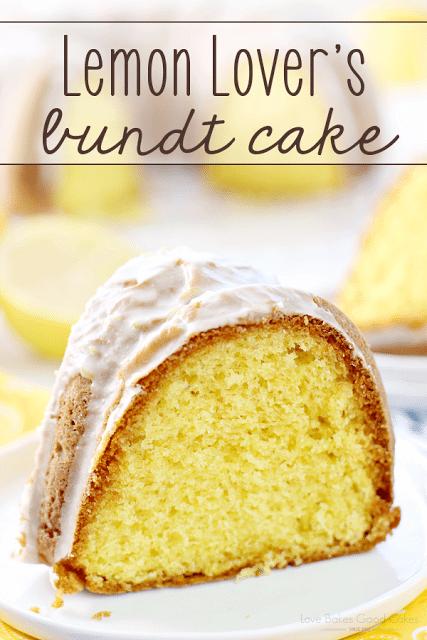 Lemon Lover's Bundt Cake on a plate.