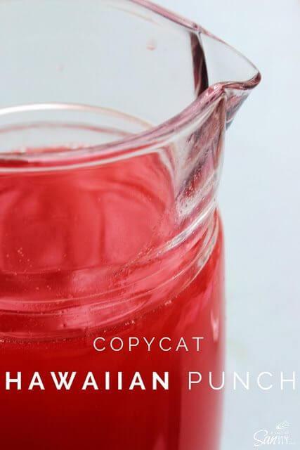 Copycat Hawaiian Punch in a glass pitcher.