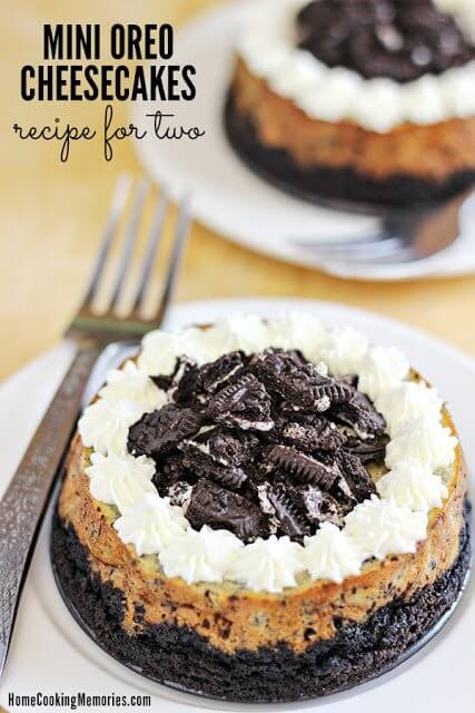 Mini Oreo Cheesecakes Recipe for Two on two plates with forks.