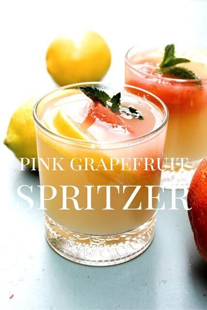 Pink Grapefruit Spritzer in two glasses.