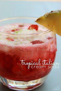 Tropical Italian Cream Soda in a glass.