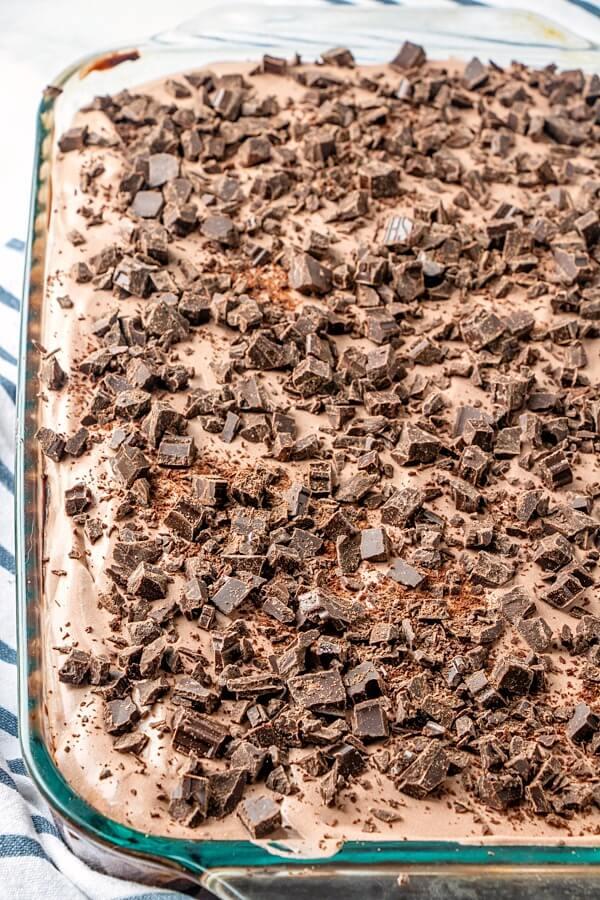 finished chocolate poke cake in pan