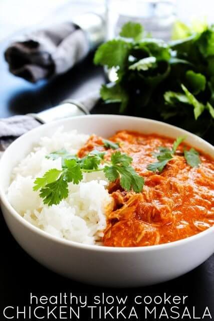 Healthy Slow Cooker Chicken Tikka Masala in a white bowl.
