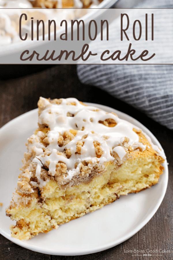 Cinnamon Roll Crumb Cake on a white plate.