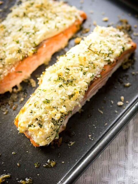 Horseradish Parmesan Crusted Salmon on a cooking sheet.