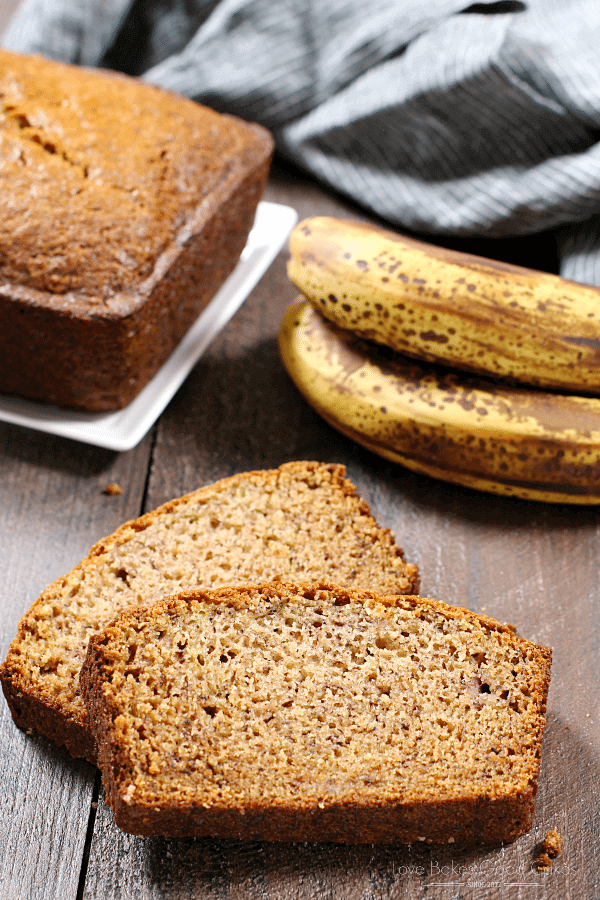 Banana Bread slices with bananas.