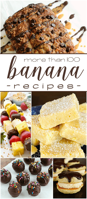 more than 100 banana recipes collage.