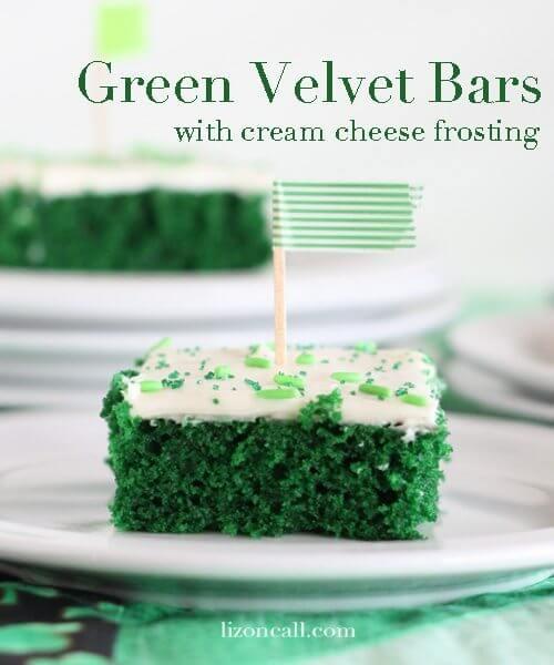 Green Velvet Cake Bars on a plate.
