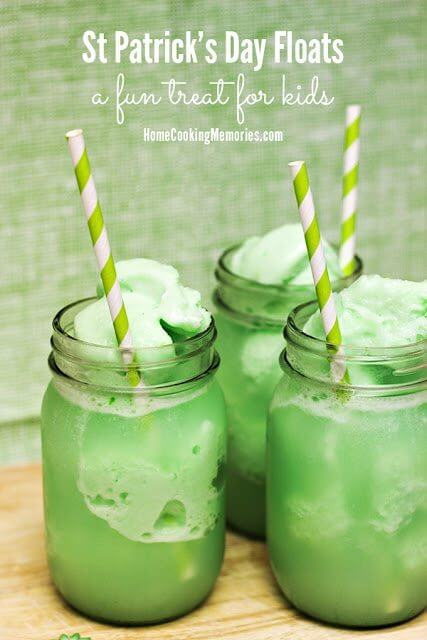 St Patrick's Day Floats in three glass jars with straws.
