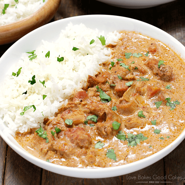 Slow Cooker Chicken Tikka Masala on a white plate with rice.