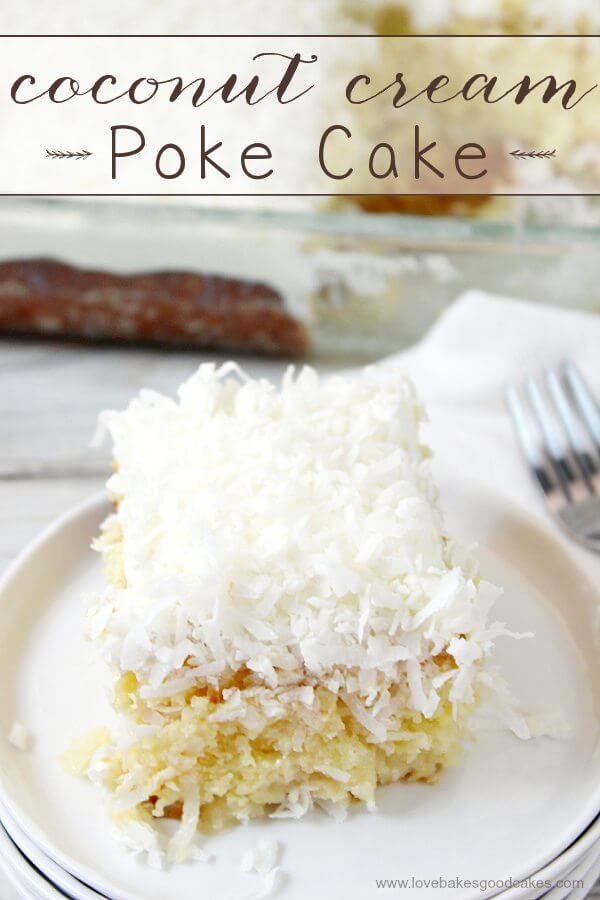 Coconut Cream Poke Cake on a white plate with a fork.