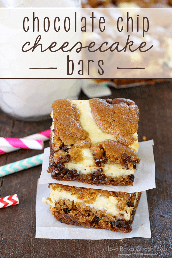 Chocolate Chip Cheesecake Bars stacked up on parchment paper with a glass of milk.